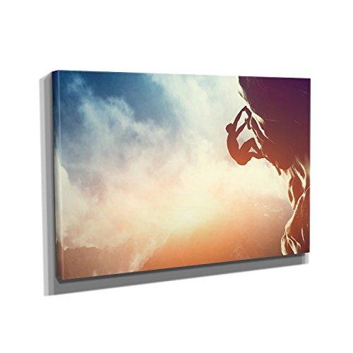 Freeclimbing - Kunstdruck auf Leinwand (90x60 cm) zum Verschönern Ihrer Wohnung. Verschiedene Formate auf Echtholzrahmen. Höchste Qualität.