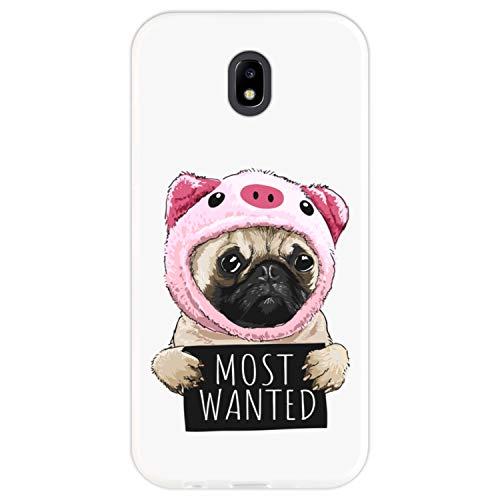 Hapdey silikon Hülle für [Samsung Galaxy J5 2017] mit gestempelt, Design [Pughund in einem Schweinkostüm mit Zeichen - Most Wanted] Farbe [Transparenz] Smartphone, Foto
