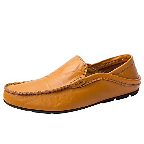 Givenchy Leder Braun (LILIHOT Herren Mokassin Bootsschuhe Leder Loafers Schuhe Flache Fahren Halbschuhe Slippers Herren Schnürhalbschuhe Männer Müßiggänger Sommer beiläufige Elegante treibende Schuhe Klassische)