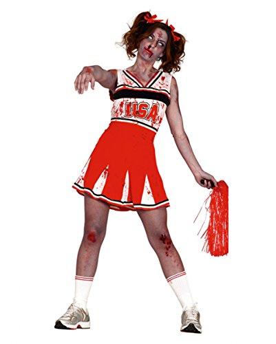 Blutiges Zombie Cheerleader Halloween Kostüm für Damen (Kostüm Halloween Groupie)