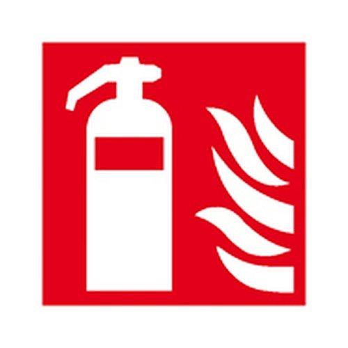 Aufkleber Feuerlöscher langnachleuchtend gemäß ASR A1.3 / Folie selbstklebend 20 x 20 cm (Brandschutzzeichen, Feuerlöschgerät) wetterfest