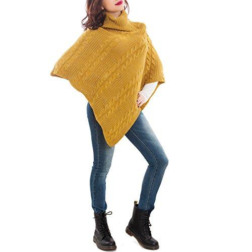 Toocool - Poncho donna coprispalle mantella tricot maglia lurex scialle nuovo WD-6135 senape
