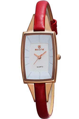Skone Damen Rot Rechteck Minimalismus Business Marken Quarz Analog Uhren