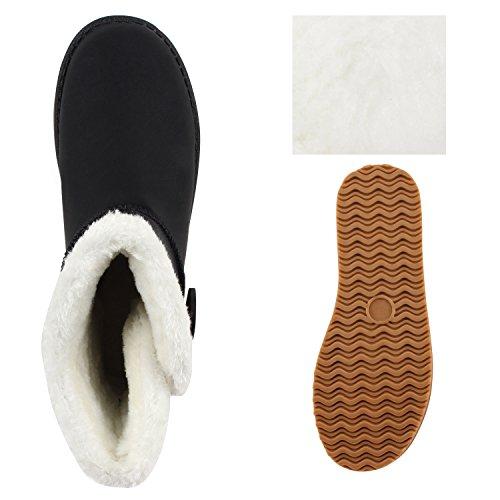 Warm Gefütterte Damen Stiefel Schlupfstiefel Boots Stiefeletten Schwarz Weiss