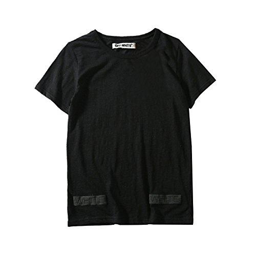 BOMOVO Herren OFF WHITE T-Shirt Rundhals Streifenshirt Schwarz