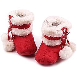 Gosear Neonato Inverno Caldo Morbido Cotone Scarpe Stivali Natale Stivali Taglia S per 0-6 Mesi i Bambini Vecchi Rosso