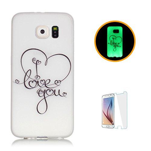CaseHome Samsung Galaxy S6 Edge Luminoso Custodia (Con Gratuito HD Proteggi schermo) Effetto Verde Night (Tatuaggio Di Gomma)
