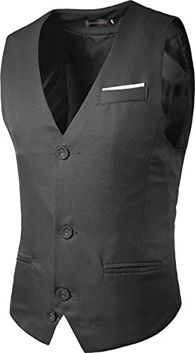 Sportides Herren Casual Waistcoat Gilet Business Gentleman Vest Suits Blazer JZA019 Gray XS (Check Jacket Suit)