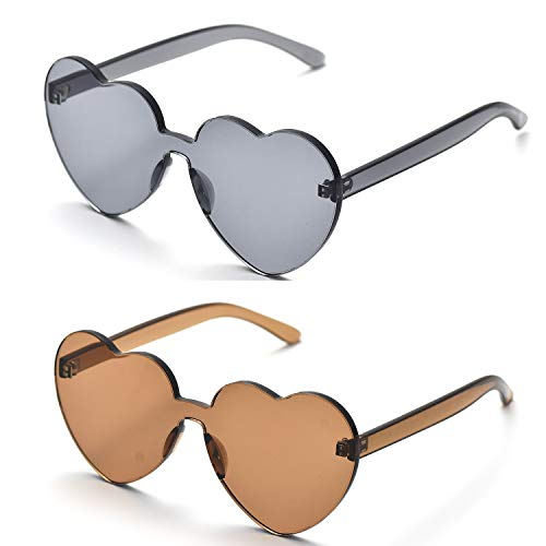 OAONNEA Love Herzform Randlose Sonnenbrille Damen Kunststoff Rahmen Brille Candy Color Gläser (2mix)