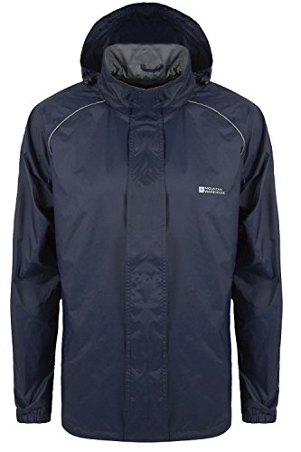 Mountain Warehouse Pakka Mens Waterproof Packable Jacket with Foldaway Hood - Lightweight and Breathable, Ideal for Festivals, Sport and Protection from Rain Navy XXX-Large