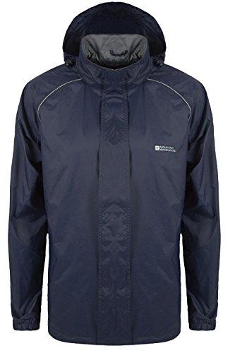 Mountain Warehouse Pakka Mens Waterproof Packable Jacket with Foldaway Hood - Lightweight, Breathable, for Sport and Rain Navy Medium