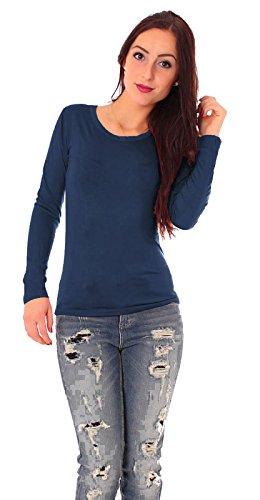 Damen Jersey Langarm Basic T-Shirt mit Rundhals lang Ausschnitt rund Top dünnes Shirt einfarbig uni 1/1 Arm langärmlig Gr 40 / L - navy dunkel blau Marine (Shirt Marine-blau-damen)