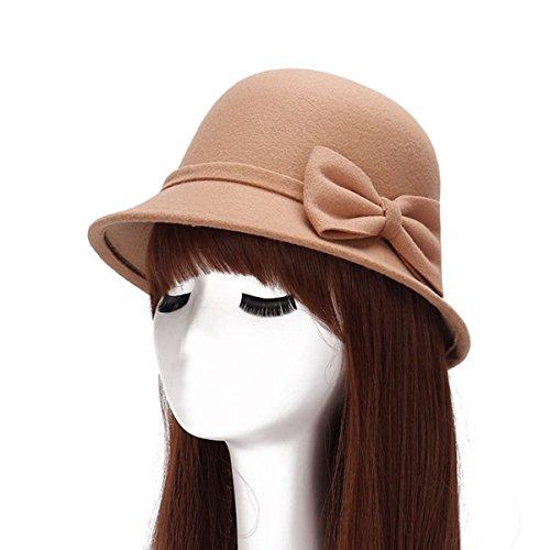 Version Coréenne De La Double-bow Petit Chapeau Mme Automne Et En Hiver Chapeau De Laine Dôme Mode, Il Camel