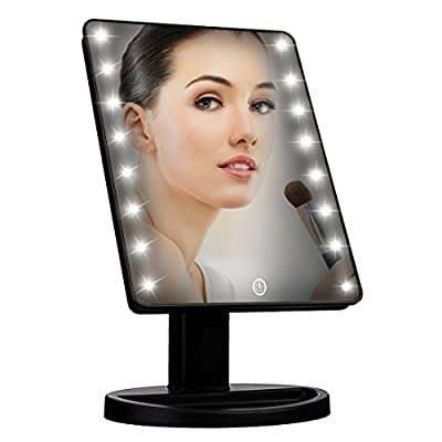 Syolee LED Lighted Vanity Mirror, 16 Led Makeup Mirror Adjustable Brightness LED Illuminated Cosmetic Mirror Battery or USB Cable Powered Ideal for Dressing Table Bathroom Shaving - low-cost UK light shop.