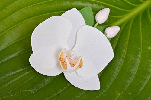 Broche-artesanal-de-goma-EVA-blanco-pinza-para-el-pelo-Orquidea