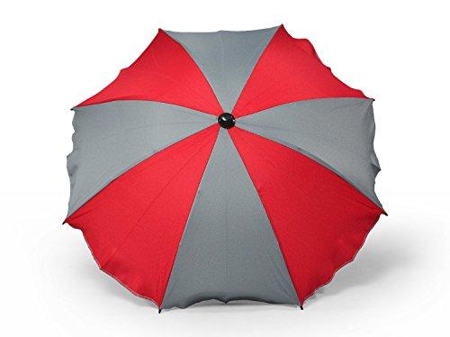 Universal Sonnenschirm Regenschirm für Kinderwagen und Sport Buggy, Babywagen Schirm mit Universal Halterung, UV-Schutz50+ Sonnensegel Sonnenschutz (Red-Grau)