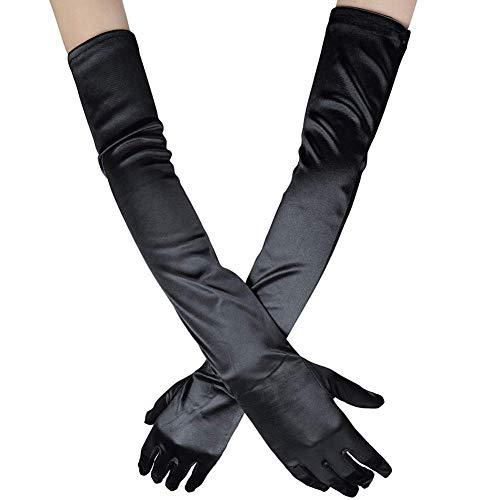 Ksnrang bianchi Damen Lange Raso Handschuhe Satin Classic Opera Fest Party Hochzeit Braut Handschuhe 1920er Stil Handschuhe Elastisch Erwachsene Größe bis Handgelenk Länge ()