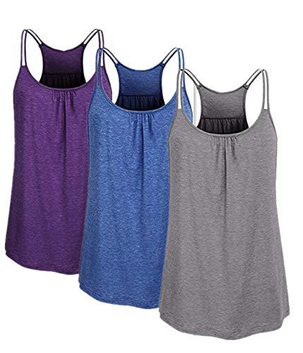 TUDUZ 3er Damen Große Größe Camisole Rundhals Falten T-Shirt Weste Bluse Ärmellos Stretch Tunika Top(XX-Large,Lila/Dunkelblau/Grau) -