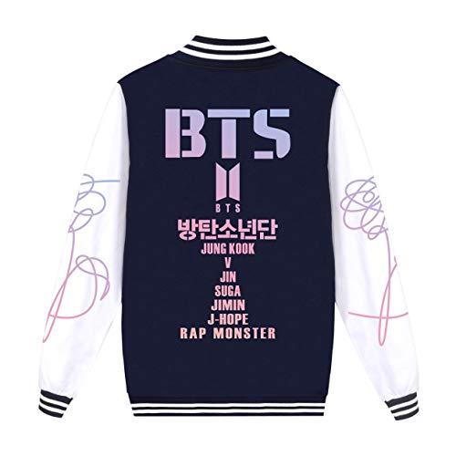 SIMYJOY Unisex BTS Fans Baseball Jacke Bangtan Boys Mitglieder Logo College-Jacke Hip Pop Cooles Sweatshirt KPOP Street Fashion Top für A.R.M.Y Männer Frauen Jungendlichen Blaues S