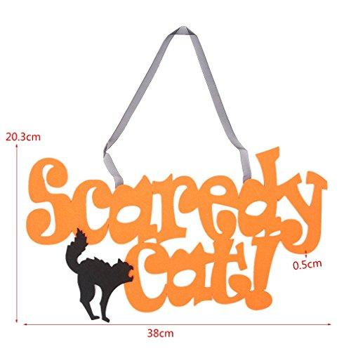 SimpleLife Halloween Non Woven Zeichen Scaredy Katze Wand Tür Hängen Anhänger Dekorationen Handwerk (Halloween Tür Hängen Handwerk)