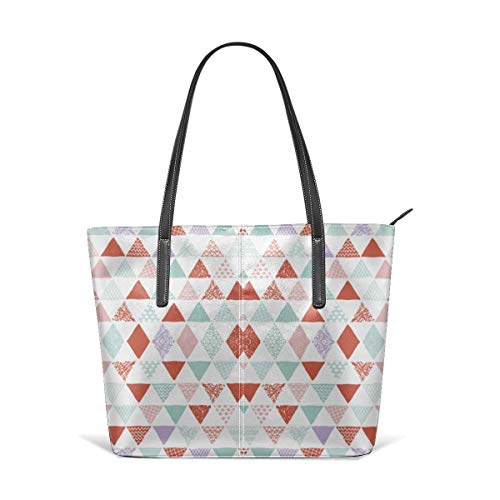 jhin Geometric Tribal Aztec Triangle Pastel Pink and Mi Satchel Purses and Handbags Handtaschen Leather Tote Bags Satchel Top Shoulder Leisure Handbags Handtaschen Office Briefcase Tote