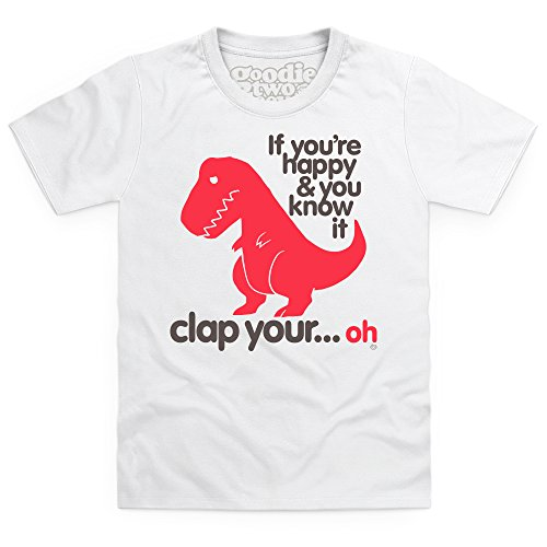 Goodie Two Sleeves Sad T Rex light T-shirt bimbi, Bimbi, Bianco, XS