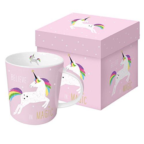 PPD Pink Unicorn Porzellantasse, Kaffeetasse, Tasse, Kaffee Becher, New Bone China, Pink/Bunt, 350 ml, 603165