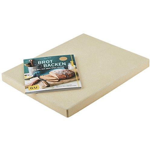 """Levivo Pizzastein/Brotbackstein aus hitzebeständigem Cordierit, 30 x 38 x 3 cm & GU Buch """"Brot backen"""""""