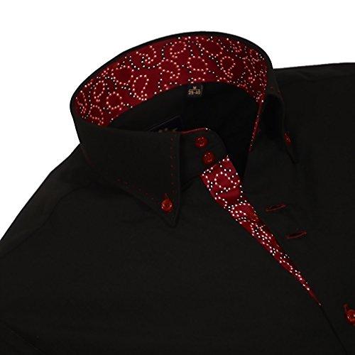 Binder de Luxe Herren Herren Hemd modern fit Langarm schwarz Schwarz