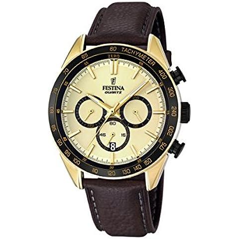 Festina hombre reloj de cuarzo con cronógrafo y correa de piel color marrón dorado F16845/1