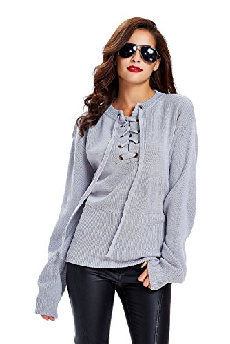 apparel-womens-loose-long-sleeve-lace-up-knitted-sweater-pullover-top-grey