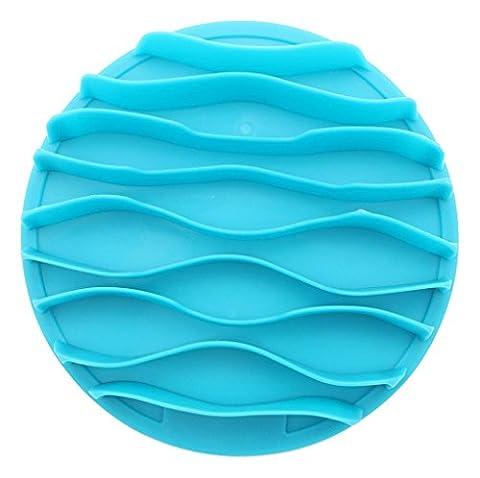 Longwu Pet Fun Tapis lente Portable Dog Feeder Bol,respectueux de l'environnement durable Cat Bowls-anti-choke Bol pour animal domestique Bol Sain Bleu-L