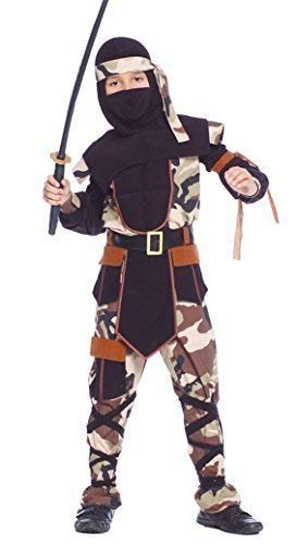 Jungen Tarnfarbe Ninja Krieger Samurai Armee Khaki Militär Büchertag Kostüm Kleid Outfit - Schwarz, 10-12 - Ninja Herr Kinder Kostüm