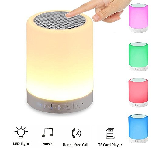 Sisthirth LED-Licht-Lautsprecher, Ubit Smart Touch Portable Multifunktionaler Bluetooth-Lautsprecher mit Smart Touch LED-Stimmungslampe, Musik-Player / Freisprecheinrichtung Bluetooth Freisprecheinrichtung, TF-Karte / AUX unterstützt, Weiß (Weiß) (Bluetooth-lautsprecher Licht)