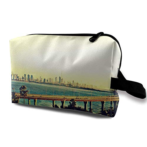 Brückenbau Kosmetiktaschen Make-up Veranstalter Tasche Reißverschluss Geldbörse Handtasche Clutch Bag