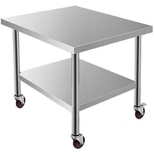 Husuper Edelstahl Catering Arbeitstisch Unterschiedliche Größen mit 4 Rädern Professioneller Arbeitstisch für die Zubereitung von Speisen (76x91x86cm)