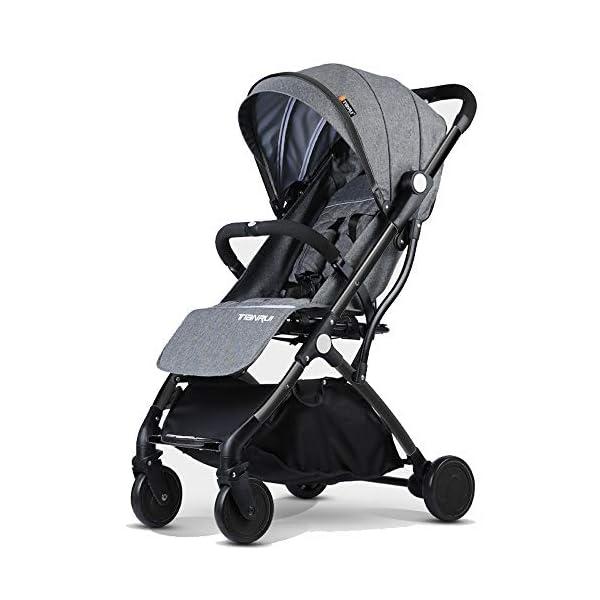 Baby Stroller Plane Lightweight Portable Travelling Pram Children Pushchair (Black B)  Stroller for plane and travel Aluminium frame,light weight around 7 kg One hand easy folding way (practice required) 1