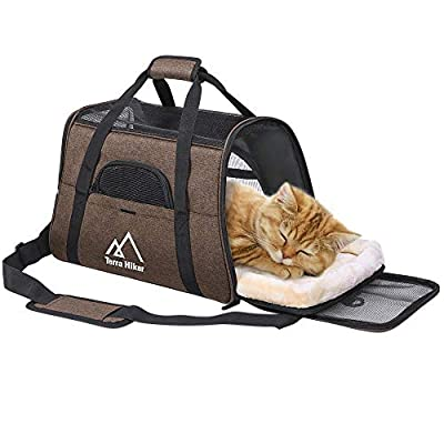Terra Hiker Cat Carrier, Small Airline Approved Under Seat for Small Dogs and Cats, Travel Bag for Small Animals with Mesh Top and Sides by Terra Hiker