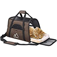 Terra Hiker Cat Carrier, Small Airline Approved Under Seat for Small Dogs and Cats, Travel Bag for Small Animals with Mesh Top and Sides (Coffee)
