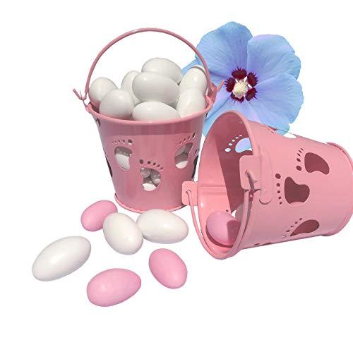 EinsSein 10x Mini Eimer Taufe Füßchen rosa Gastgeschenke Taufe Weihe Minieimer Taufmandeln Junge Mädchen kartonage Kinderwagen kleine Foto anhänger füsse blau tütchen Baby Box
