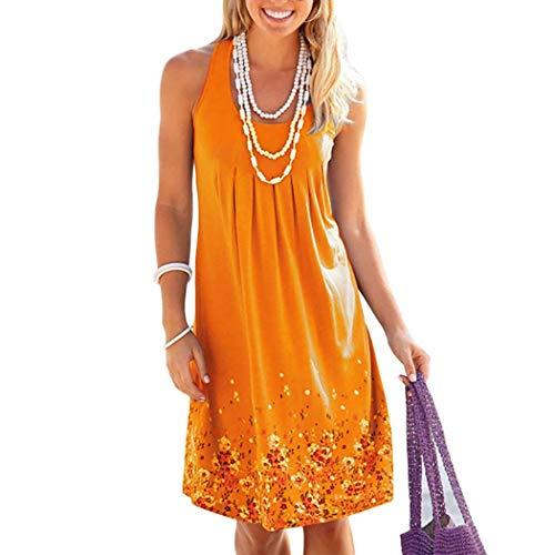Modfine Damen Sommerkleid Sexy Beiläufig Drucken Sommerkleid Mode Lose Ärmellos Strandkleid Elegant Minikleid Lose Großes Sommerkleid(S-5XL)