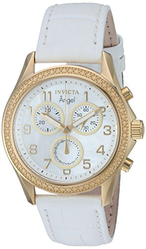 Invicta Women's 'Angel' Quartz Gold-Tone and Leather Casual Watch, Color:White (Model: 12990)