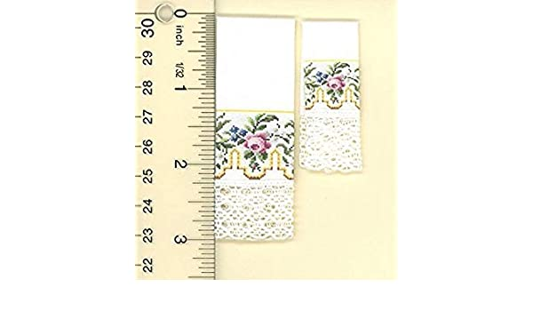 Dollhouse Miniature Set of 2 Hand Towels w//Gold Greek Key and Pink Floral Ros...