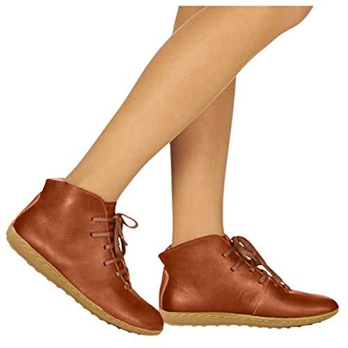 DNOQN Stiefeletten Damen Leder Springerstiefel Boots Komfortable Runde Kappe Schnürschuhe mit Niedrigen Absätzen Freizeitschuhe Ankle Booti Orange 38