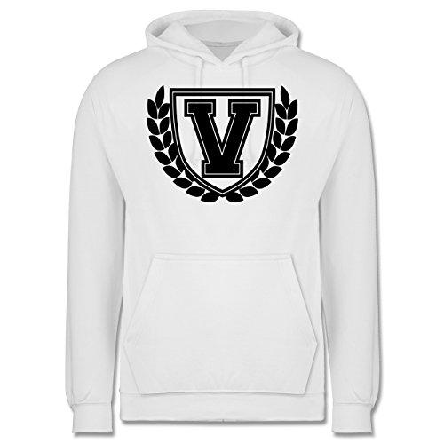 Anfangsbuchstaben - V Collegestyle - Männer Premium Kapuzenpullover / Hoodie Weiß