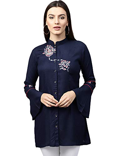 AKHILAM Women's indo-Western Rayon Top (tops for womens_Rashmita506_Navy Blue)