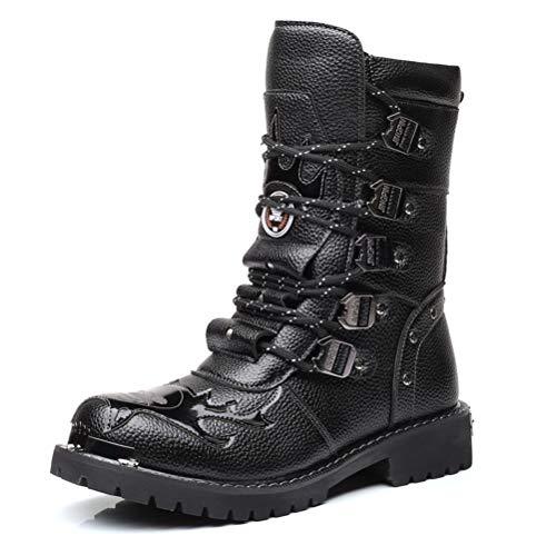 Tangbb Botas de Martin para Hombre Botas de Herramientas de Cuero para Motocicletas Botas gótico Steampunk del ejército Botas Vaqueras Occidentales Senderismo Botas de Uniforme-Negro,A,39