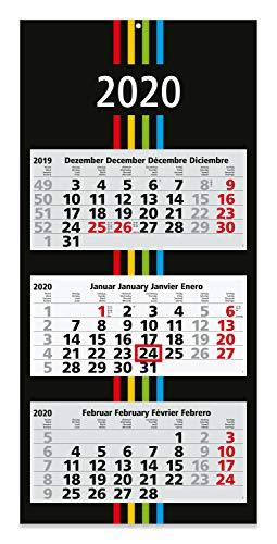 Calendario Trimestrale 2020.Geiger Notes Calendario Trimestrale 2019 Colore Nero Con Strisce Colorate Formato Di Grandi Dimensioni 30 X 70 Cm Con 3 Singoli Blocchetti