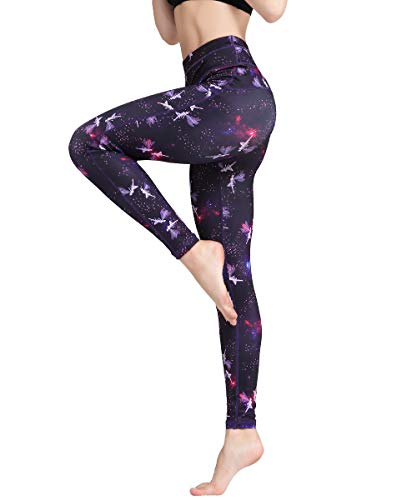 Damen Radfahren Strumpfhosen (HAPYWER Yoga Leggings Damen Hohe Taille Sporthose Muster Trainingshose Fitnesshose Tummy Control für Laufen Yoga Workout (Violett, M))