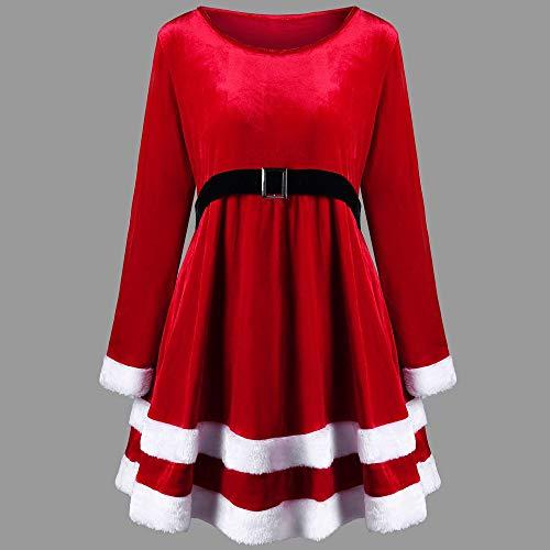 Hffan Damen SAMT Elegant Plüschkante Langarm Rundhals Hohe Taille Festliches Kleid Schön Weihnachtskleid A-Linie Kleid Modisch Kurzes Kleid Freizeit Casual Minikleid(Rot,S) - 5